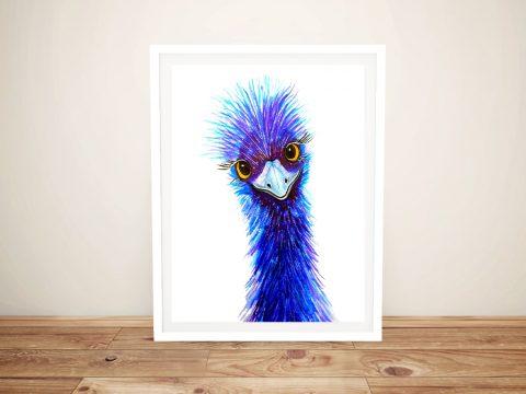 Quirky Emu Blue Watercolour Art Print