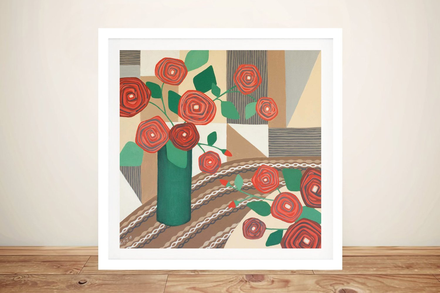 Framed Abstract Roses are Red Canvas Art