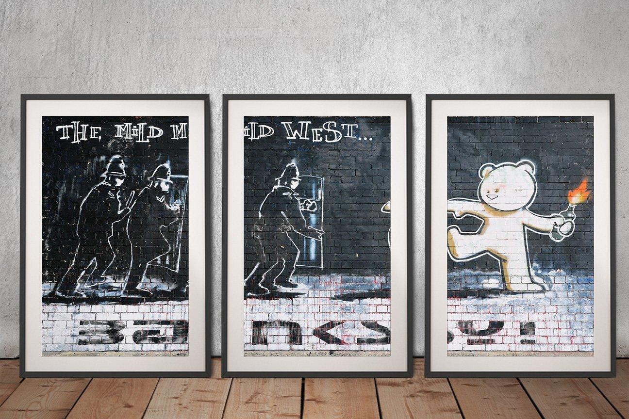 The Mild Mild West Banksy Triptych Art