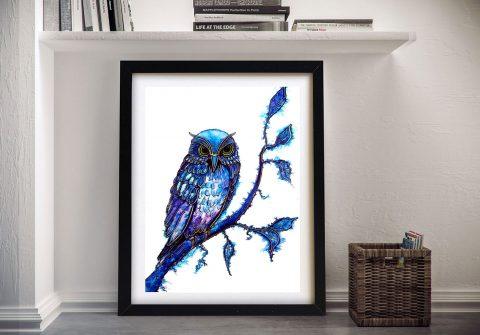 Framed Blue Owl Artwork Great Gift Ideas