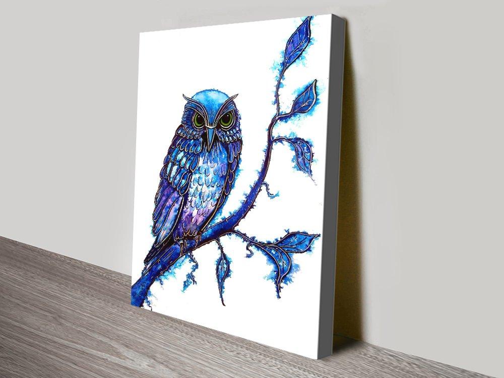 The Wisdom Keeper Blue Owl Canvas Art