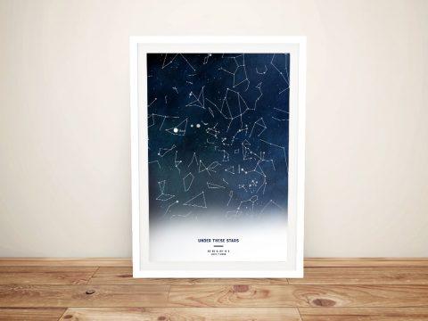 Personalised Night Stars Map Art