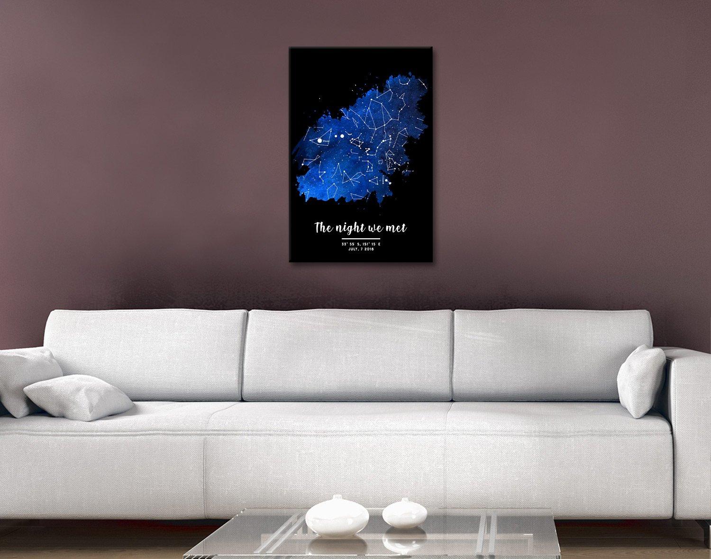 Watercolour Star Map Personalised Art