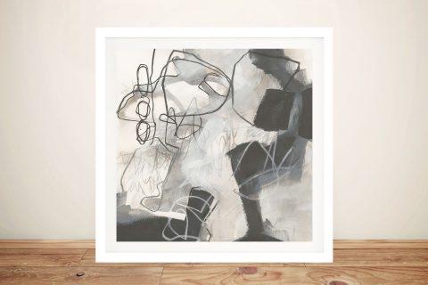 Framed Neutral Tones Abstract Art AU