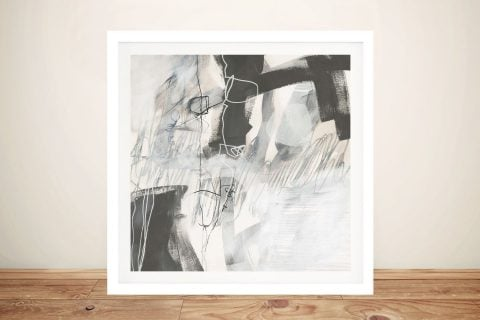 Framed Grey Scale Abstract Art for Sale