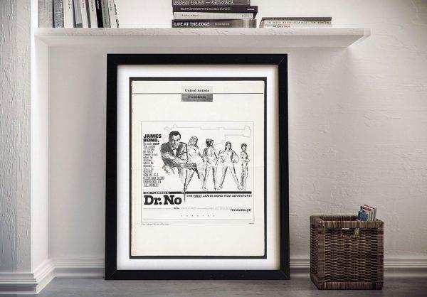 Framed Dr No 007 Movie Poster for Sale
