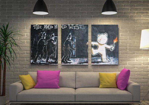 Banksy Graffiti 3-Panel Canvas Art Set AU