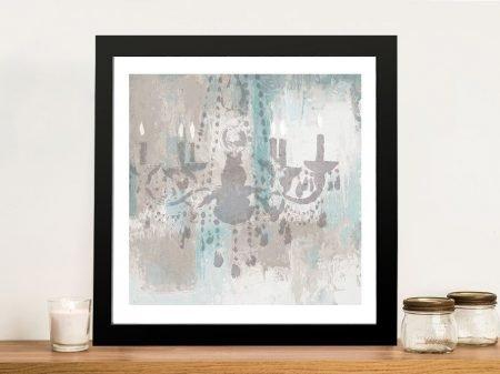 Framed Candelabra Teal l Print on Canvas