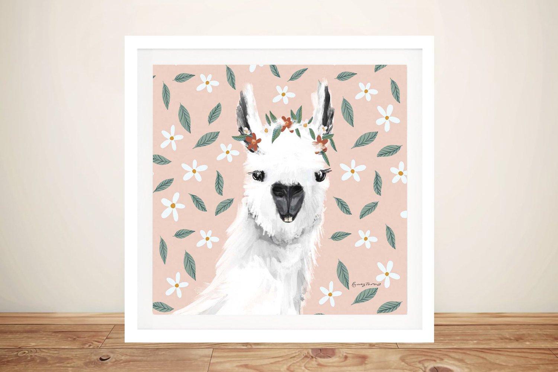 Delightful Alpacas l Floral Canvas Art