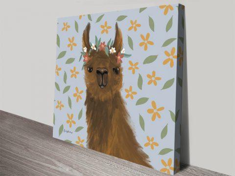 Delightful Alpaca ll Cute Canvas Artwork