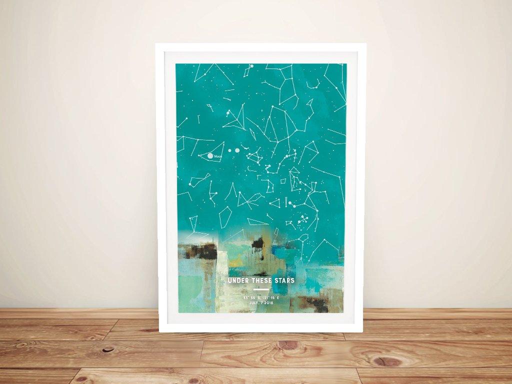 Framed Abstract Art Style Star Map Framed Abstract Art Style Star Map