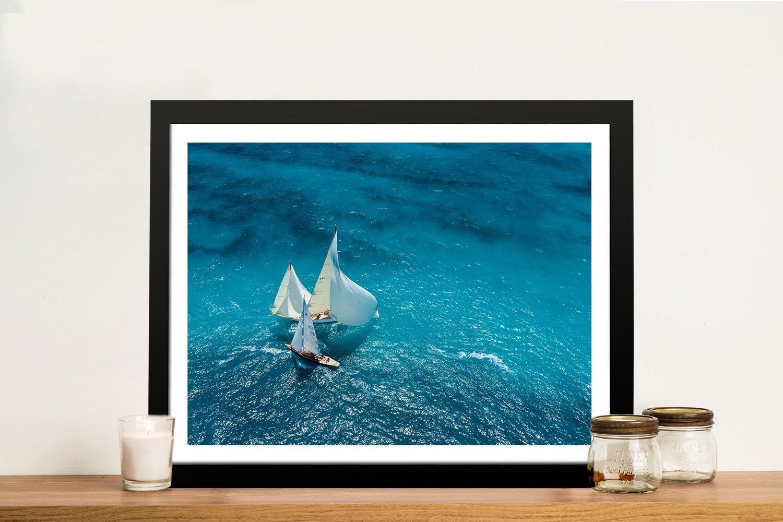 Antibes Ocean Sail Framed Canvas Art