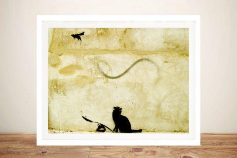 Banksy Cat & Mouse Art in Yellow Tones