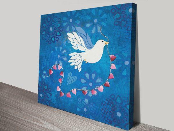 Bird of Peace Colourful Canvas Wall Art