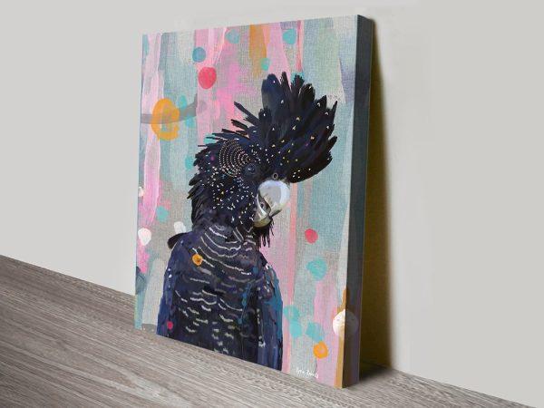 Colourful Black Cockatoo Canvas Artwork AU