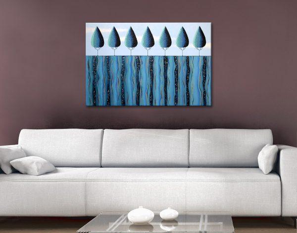 Blue Trees on the Ridge Affordable Art AU