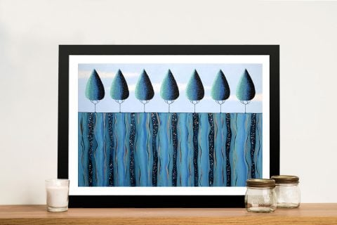 Framed Blue Trees Abstract Art for Sale AU