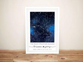 Blue Galaxy Personalised Star Map Artwork