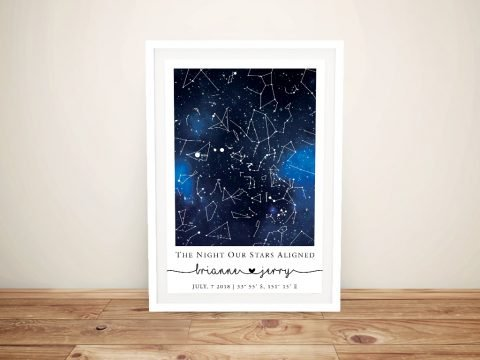 Blue Galaxy Personalised Star Map Artwork