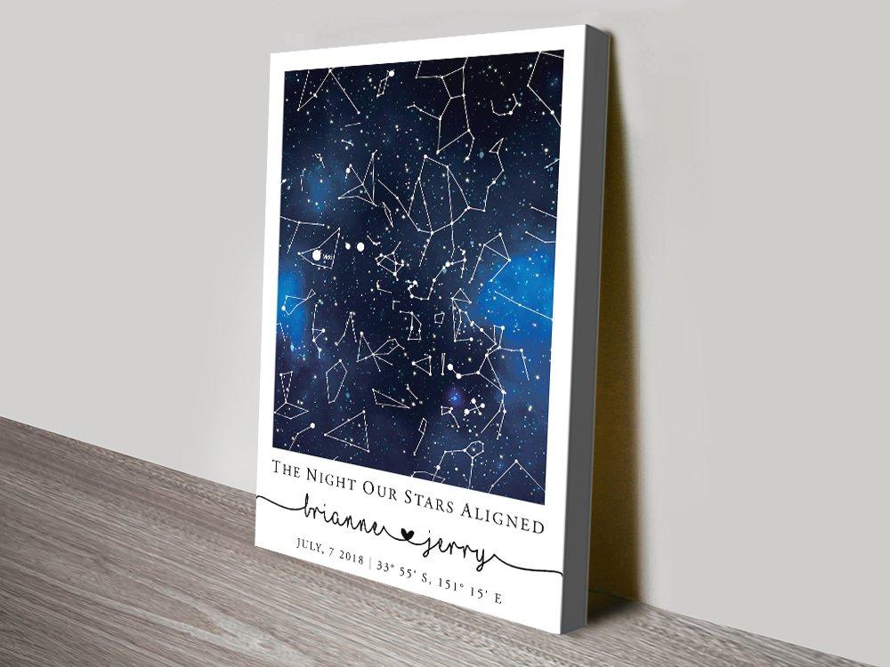 Blue Galaxy Star Map Wedding Gift Ideas AU