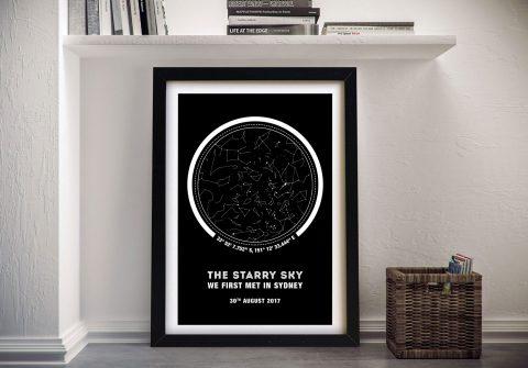 Framed Coordinates Custom Star Map Print