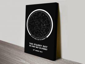 Black & White Coordinates Star Map Art