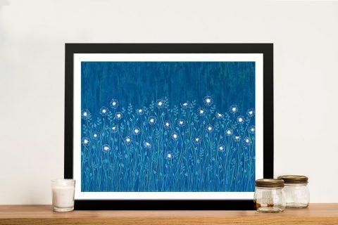 Dandelions on Blue Framed Floral Prints AU