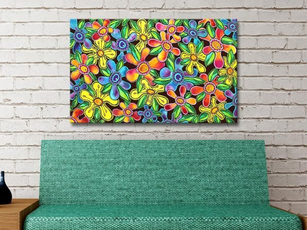 Funky Flowers Ready to Hang Abstract Art