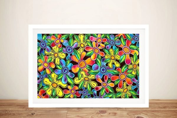 Funky Flowers Framed Print on Canvas