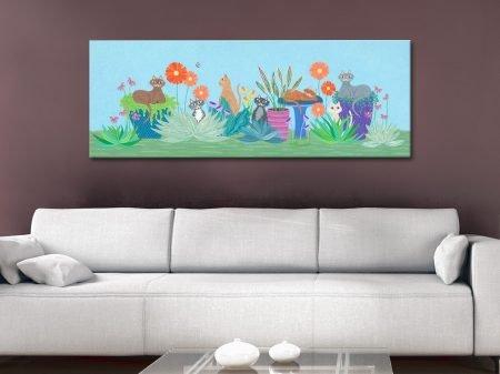 Garden Cats Cute Panoramic Wall Art