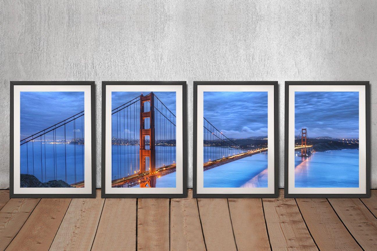 Framed Golden Gate Multi-Panel Artwork