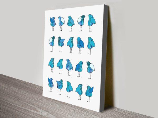 Gossip Birds Blue Affordable Wall Art AU