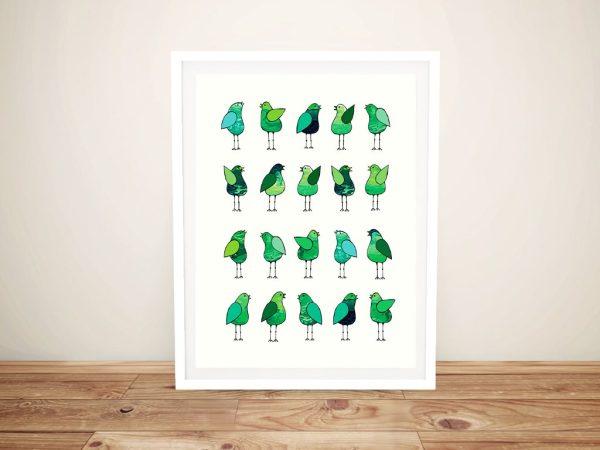 Framed Gossip Birds Green Fun Wall Art