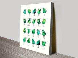 Gossip Birds Green Fun & Colourful Artwork