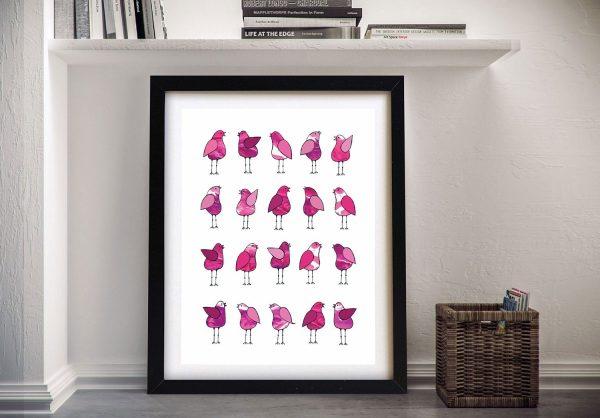 Buy Gossip Birds Pink Bright Canvas Art