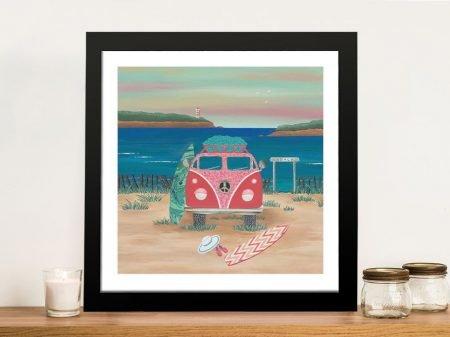 Framed Hippy Van Road Trip Print on Canvas