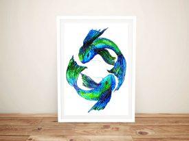 Koi Fish Colourful Abstract Art Print
