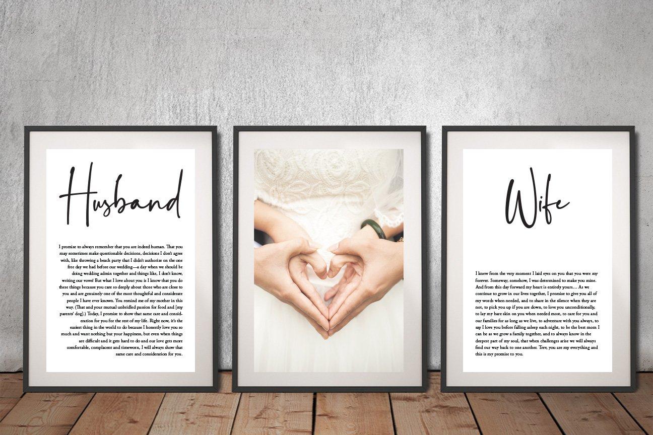 Wedding vows 3 piece canvas Artwork
