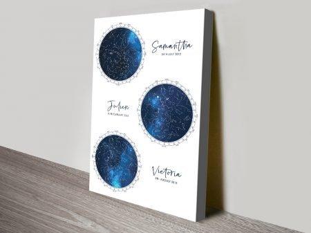 Multiple Star Map Art in White & Blue