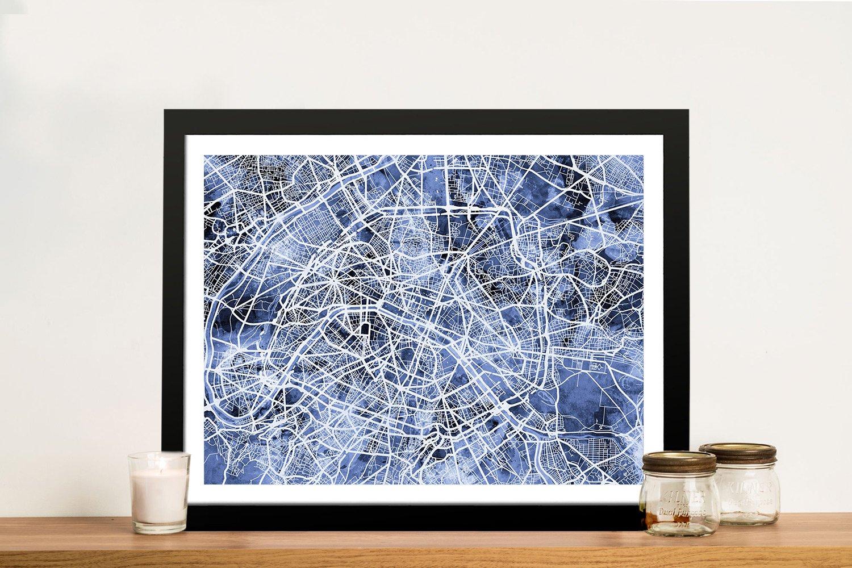 Framed Paris Street Map Available Online