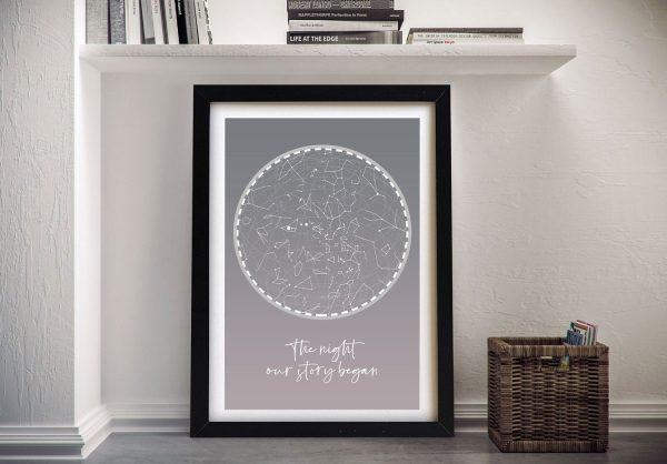 Stunning Silver Star Map Custom Art