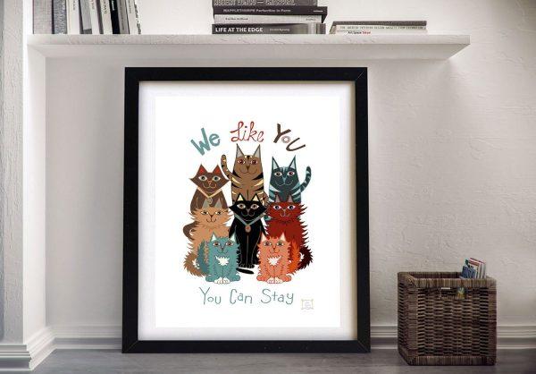 Framed We Like You Fun Cat Canvas Art