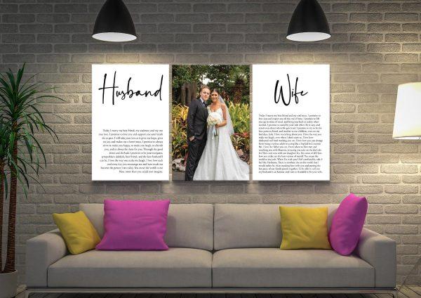 Custom Wedding Vows Triptych Artwork