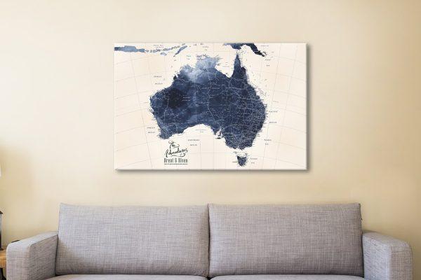 Ready to Hang Custom Blue Map Art Online