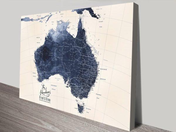 Blue Custom Map of Australia Home Decor AU