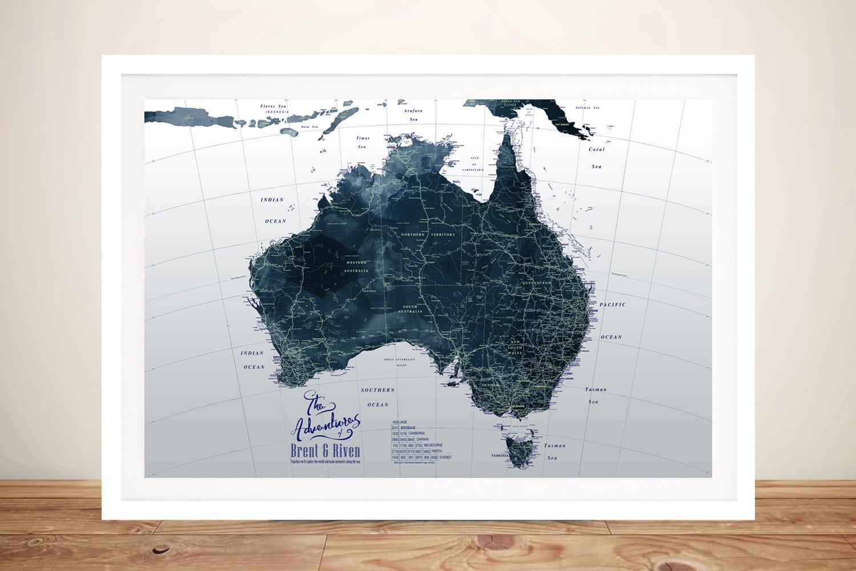 Australia Detailed Dark Tones Custom Map Art
