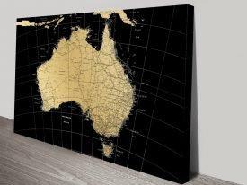 Australia Map Gold Canvas Print