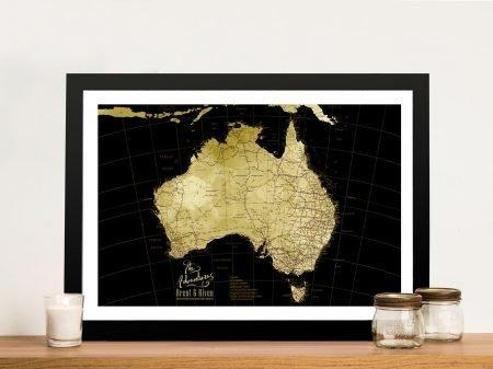 Buy a Framed Black & Gold Custom Map