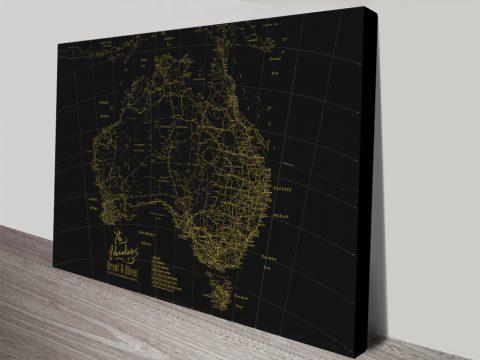 Black & Gold Custom Map Art Wedding Gifts