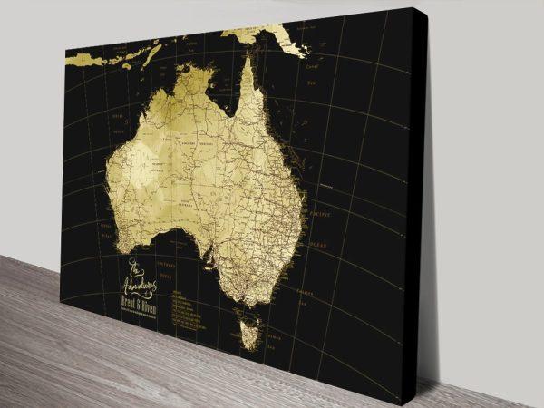 Black & Gold Push Pin Map of Australia